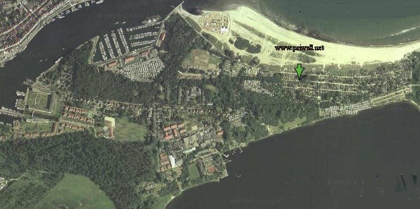 Priwall Karte.Satellitenbild Priwall